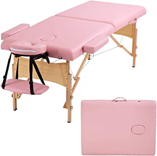 Portable Massage Table Massage Bed SPA Bed Height Adjustable Massage Table 77 Inch Long 28 Inch Wide 2 Fold PU Portable Sa...