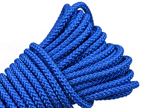 Bored Paracord Diamond Braid 1/8' Utility Rope - Sea Blue - Multi-Purpose Flagline Rope, High Strength, 50 Feet DIY Projects, Camping, Cargo, Tie-Downs
