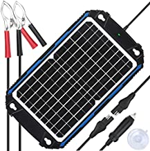 Upgraded Waterproof 12W Solar Battery Charger & Maintainer Pro - Built-in Intelligent MPPT Charge Controller - 12 Watts Solar Panel Trickle Charging Kit for Car, Marine, Motorcycle, RV, etc