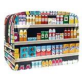 Bolsa de maquillaje portátil con cremallera bolsa de aseo de viaje para mujeres práctico almacenamiento cosmético bolsa de supermercado estantes