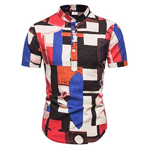 Camisa de Manga Corta con Cuello Alto de Verano para Hombre, Estilo étnico, Estampado a Rayas, Costura de Medio botón, Jersey básico de Tendencia callejera XL