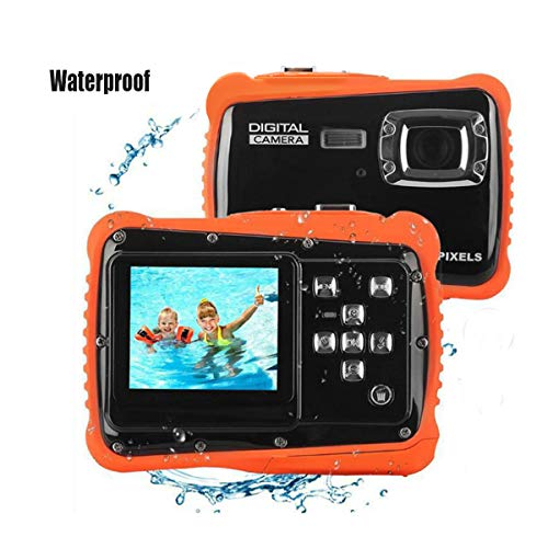 "UCUP Best Gift Waterproof Underwater Digital Camera for Kids, Sport Action Camcorder with 12MP HD Photo Resolution, 2.0"" LCD, Flash, and Mic (Orange and Black)"