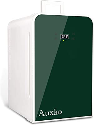 AUXKO Pantalla Digital Mini Refrigerador Portátil de 22 Litros/30 Latas, para maquillaje, Mini Frigobares para cuidado de la piel, Nevera Compacto y Calentador Para, Familia, Oficina, Coche (Verde)