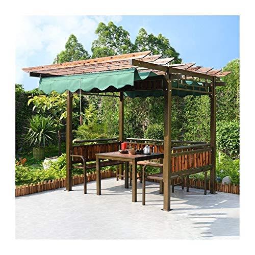 HLZY Gazebo Permanente per Patio Lawn, Gazebo per patii, graffetta con Tavolo e sedie, Padiglione da Cortile all'aperto Tenda da Giardino in Legno (Color : Green)