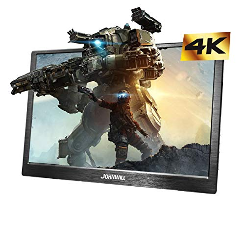 4K 18,4 Zoll Schwarz Tragbarer Monitor FHD 3840 x 2160 IPS-LCD-Monitor mit USB-C,HDMI-Eingang, eingebautem Lautsprecher, Gaming-Monitor für Raspberry Pi PS3 / PS4 / Xbox,JOHNWILL