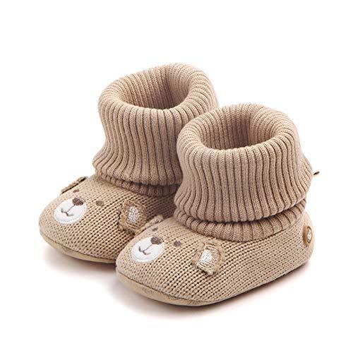 Bebé Botines Invierno Zapatos Calcetines Antideslizantes Suela Blanda Tejido de Punto Botas Zapatillas Recien Nacido Lindo Regalo 0-6 meses Caqui