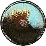 SDFB Plato/Bandeja de cerámica Retro de 9 Pulgadas, Postre, Ensalada, Pasta, Plato para Servir bistec, Serie de Piedra Colorida, Textura de Relieve de difusión distorsionada, Degradado Azul