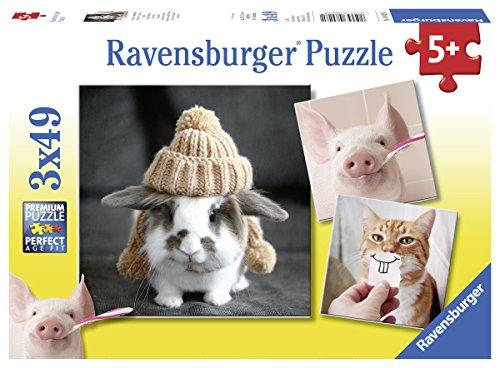 Ravensburger Kinderpuzzle 08028 - Witzige Tierportraits - 3 x 49 Teile