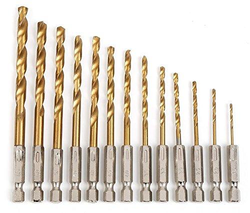 鉄工用 ドリル刃 六角軸 13本セット チタンコーティング 六角軸 鉄工用 ドリルセット 1.5mm-6.5mm 金属 金工