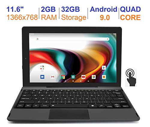 """RCA 11 Delta Pro 11.6 Inch Quad-Core 2GB RAM 32GB Storage IPS 1366 x 768 Touchscreen WiFi Bluetooth with Detachable Keyboard Android 9.0 Tablet (11.6"""", Charcoal)"""