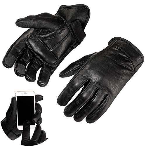 Viking Cycle Premium Heavy Duty Black Genuine Leather Water-Resistant Touch Screen Motorcycle Riding Gloves For Men (Black, M)