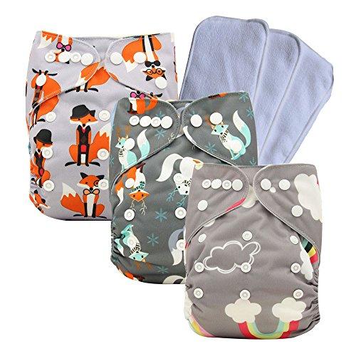 Couches de poche réglables unisexe pour bébé 3/4/6 pièces + 3/4/6 inserts