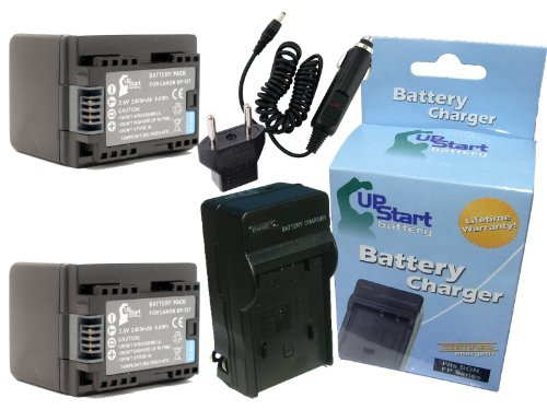 2X Pack BP-727 Decoded Battery + Charger + Car Plug + EU Adapter for Canon HF R300, HF R400, HF M500, HF M50, HF M52, HF R40, HF R30, HF R42, HF R32 Camcorder