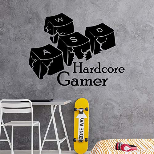 Hardcore Gamer Muursticker Gamer Sticker Spel Toetsenbord Knopen Muur Kunst Gamer Sticker Speelkamer Decor Jongens Kwekerij Decals Tieners Decor oo24