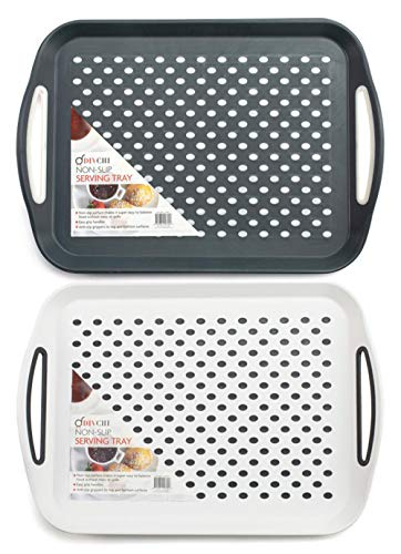 DIVCHI 2X Set of Anti-Slip Rectangular Non-Slip Top and Bottom Plastic Dinner/Drinks Serving Tray with High Grip Rubber Surface, Easy Grip Handles Black,Grey & White Random Colour