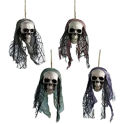 Colgante colgante de Halloween 4 piezas Esqueleto de Halloween Colgante fantasma Espuma horrible Adorno de calavera Fantasma colgante de Halloween Casa embrujada Escape Horror Decoraciones