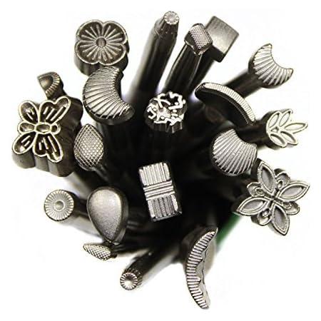 GoodFaith Ensemble de tampons pour impression sur cuir, outils de gaufrage du cuir, kit de sculpture manuel de différentes formes, lot de tampons pour selle, bricolage