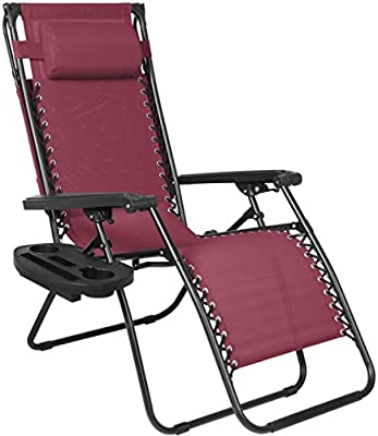 Burgundy Folding Zero Gravity Recliner Lounge Chair With Canopy Shade Magazine Cup Holder Foldable Design Patio Outdoor Garden Deck Backyard Camping Picnic Pool Beach Décor Furniture UV-Resistant
