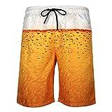 DOTBUY Uomo Costume da Bagno, Estate Mare Pantaloncini da Spiaggia personalità Creativo 3D Stampa Asciugatura Rapida Bermuda Calzoncini Sportivi Shorts con Tasche (M,Birra)