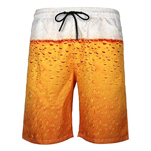 DOTBUY Badeshorts für Herren Lang, Sommer Persönlichkeit Creative 3D Druck Gemütlich Schnelltrocknend Badehose Jungen Männer mit Taschen Kurze Hosen fit Hawaii Strand Surf (3XL,Bier)