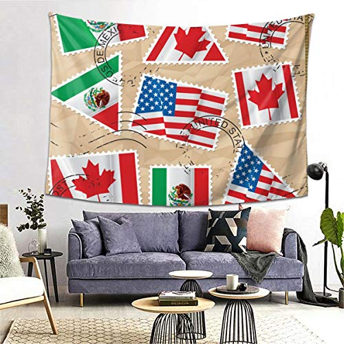 Review Of bneegxg Tapestries Décor Picnic Mat Stamps with Flags USA Canada and Mexica for Bedroom D...