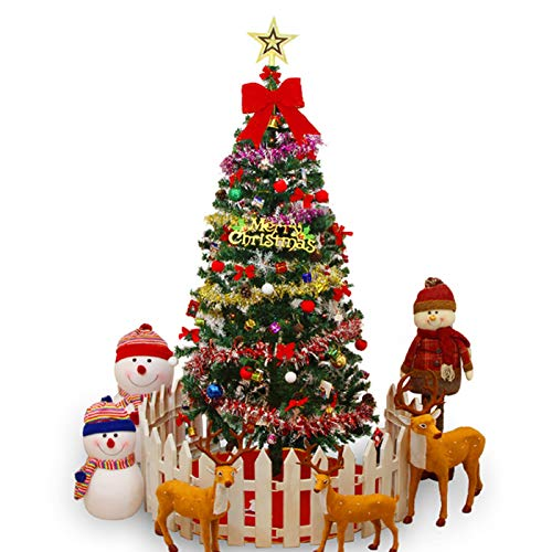 Holdfiturn Christmas Tree 180cm Artificial Bushy Pine Christmas Tree Metal Stand with Decorations & LED Light