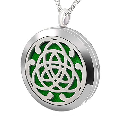 Premium Aromatherapy Essential Oil Diffuser Necklace,Celtic Tribal Totem Locket Pendant with 8 Washable Pads + 24' Chain - Hypoallergenic 316L Surgical Stainless Steel Jewelry Gift for Birthday Christmas New Year