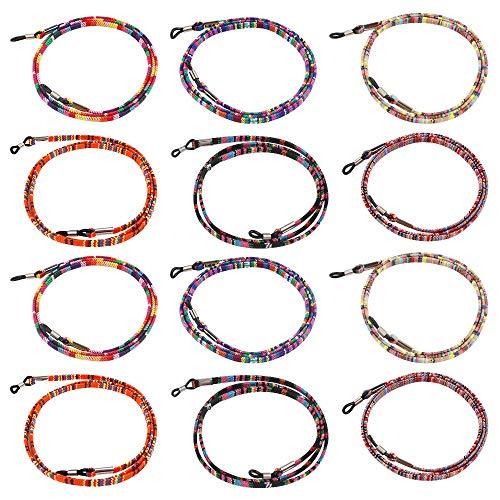 Dadabig 12Pcs Cuerda de Gafas de Sol Cordón de Gafas Étnico Antideslizante Cadena de Anteojos Ajustable para Mujer Hombre Niño (6 Colores)