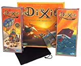 Dixit Game Bundle - Main Game Plus Quest & Odyssey Expansions + Hickoryville Velour Drawstring Storage Bag