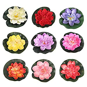 RONRONS 9 Pack Artificial Floating Foam Lotus Flowers with Water Lily Pad Ornaments