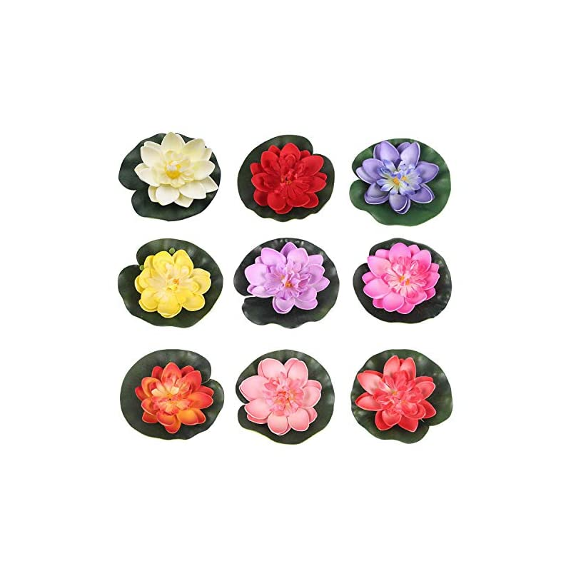 silk flower arrangements ronrons 9 pack artificial floating foam lotus flowers with water lily pad ornaments, colorful