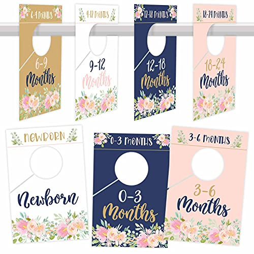 7 Navy Pink Gold Baby Nursery Closet Organizer Dividers For Girl Clothing, Floral Flower Age Size Hanger Organization For Kid Toddler Infant Newborn Clothes, Shower Registry Gift Supplies, 0-24 Months