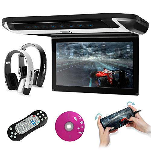 XTRONS 10 inch HD Digital TFT Monitor Car Roof Flip Down Overhead DVD Player Touch Panel Game Disc with HDMI Port(Built-in DVD Drive) (CR108HDS+DWH005+DWH006) (Grey)