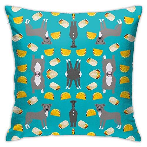 Hangdachang - Fundas de cojín con cremallera oculta, fundas de almohada suaves de pitbull, para sofá, cama, patio, hotel, 18 x 18 pulgadas