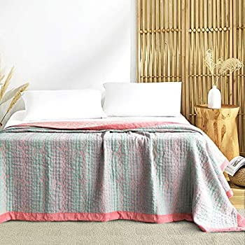 Heather Touch Queen Quilted Blanket Cotton 90x90 Lightweight Bedspread Soft Quilt red