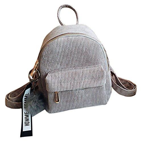 Jagenie Mini-Rucksack für Damen / Mädchen, aus Kord, Schulranzen, für kurze Reisen, Handtasche, hellgrau, 18x8x23cm