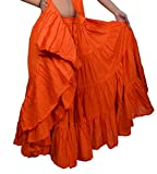 Wevez Women's Gypsy 25 Yard Solid Color Cotton Skirt, One Size, Orange