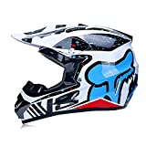 LSLVKEN Motocicleta Motocross Motocicleta Cascos y Parabrisas y Guantes y Gafas D.O.T Standard Kids Quad Bike ATV Go-Kart-Helmet Fox,Clear,L