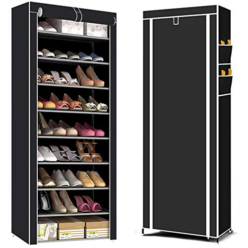 YXMG 10 Tier Shoe Rack Cabinet for Up To 27 Pairs of Shoes Free Standing Storage Organizer 58 X 28 X 155Cm Heavy Duty Shoe Cabinet Stand Oxford Fabric Dustproof Cover Hold,Black