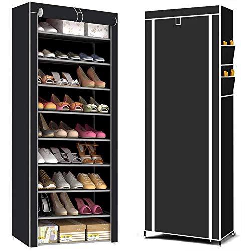 YXMG El gabinete de Zapatero Puede Contener hasta 27 Pares de Zapatos. Administrador de Almacenamiento de Alta Resistencia Gabinete de Zapatero Cubierta de Tela Oxford, 58 x 28 x 155 cm, Negro