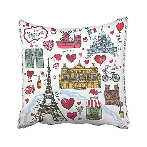 QUEMIN Fundas de Cojines Decorativos Fundas Paris Landmark Love Map Día de San Valentín Corazones de Boda Vintage Doodle Sketch Notre Dame Torre Eiffel, 18 x 18 Pulgadas