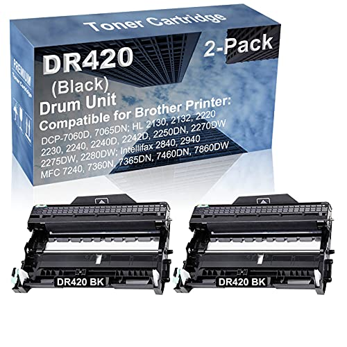 2-Pack Compatible Drum Unit (Black) Replacement for Brother DR420 DR-420 Drum Kit use for Brother Intellifax-2840, Intellifax-2940; MFC-7240, MFC-7360N, MFC-7365DN, MFC-7460DN, MFC-7860DW Printer