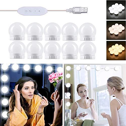 Spiegellampe USB, Led Spiegelleuchte Hollywood Stil mit Schalter, 10x Dimmbar Schminklicht Makeup Licht, 3 Farbmodi und 10 Helligkeit, Spiegel Beleuchtung für Bad Schminktisch Kosmetikspiegel
