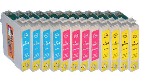 Start - 12 cartucce d'inchiostro compatibili con Epson T0711, T0712, T0713, T0714 4 magenta, 4 ciano, 4 giallo