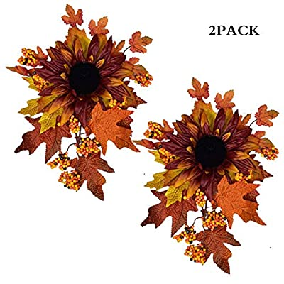 LSKYTOP 2 Pack Autumn Decorative Swag with Sunflowers,Maple Leaves and Berries, Wreaths and Floral Decorations Front Door Wall Decor Holiday Ornaments