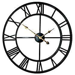 Evursua 18.5 Inch Large Home Decor Wall Clock for Living Room Non Ticking Iron Art Clocks Roman Numeral,Thicken Heavy Metal Frame,Mid-Century Style