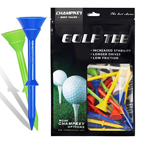 CHAMPKEY BC Plus 3-1 4  Golf Tees 50 Pack|Excellent Durability and Stability Tees | Reduced Friction & Side Spin Golf Plastic Tees
