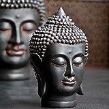 Meditación diseño Sonriendo Shakyamuni Buda meditando cabeza de la estatua Bendición Misericordia y Amor Pacífica Feng Shui Idea Estatua de Buda de meditación presentada ( Size : 11x10x16cm )