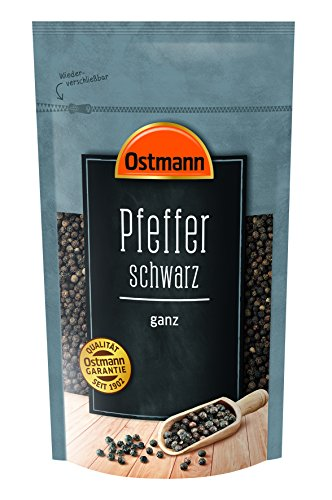Ostmann Pfeffer schwarz ganz 250 g, Pfefferkörner schwarz, schwarzer Pfeffer ungemahlen, für Pfeffermühle & dunkle Speisen