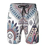 Boys Swimming Shorts Funny Printed,Ethnic Teepee Tents Eagle Symbol Moon Sun and Feather Chief Hat Print,Quick Dry Beach Board Trunks with Mesh Lining